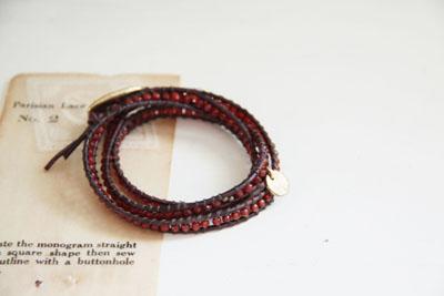 agate &  leather bracelet